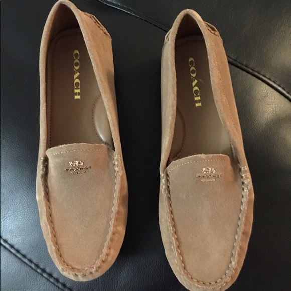 ce9c69f738b Shoes - Coach tan camel suede loafers 7.5